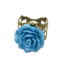 Wholesale Gothic Rings For Women - Vintage Jewelry Rings for Women Fashion Colorful Rose Hollow Out Flower Finger Gothic Ring