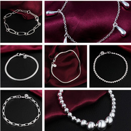 Wholesale Sterling Silver Bone - Silver Fashion Bracelets Vintage Sterling Silver Bracelet Jewelry snake bone beads Bangles Bracelets For Women 925 Silver Jewelry free DHL