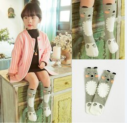 Wholesale Toddler Boys Tube Socks - Free Shipping 0-6 Years Printed 3D Grizzly Toddler Long Girls Knee High Socks Kids Tube Cotton Cute Children Boys Socks Cartoon