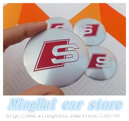 Wholesale S Line Logo Badge - 56.5mm S line R line car emblem logo wheel center hub cap wheel badge decoration sticker Auto accessories 4pcs Free shipping