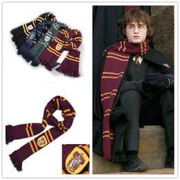 Wholesale Scarfs Knited - Harry Potter Scarves School Unisex Knited Scarves Cosplay Costume Warm Stripe Scarves Christmas gift scarf LA154-5