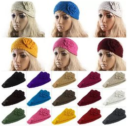 Wholesale Ear Warmer Band - Women Headband Wool Crochet Headband Knit Hair band Winter Warm headbands Ear Warmer Girls Headwrap Hair Accessories 24 Colors