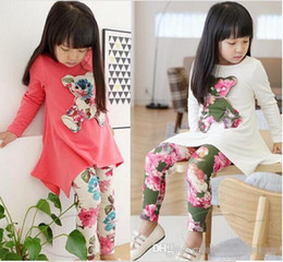 Wholesale Child Activewear - Girls suit leggings Children Irregular Tshirt Dress With 3D bear Floral leggings Two pieces Suits Set Kids outfits Girls clothes Activewear