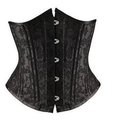 Wholesale Black Jacquard Corset - plus size black jacquard underbust firm control waist corset 26 double steel boned corset heavy duty waist training shaper