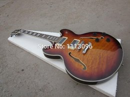 Wholesale Es Semi Hollow - FREE SHIPPING+LP CUSTOM+OEM brand jazz hollow+es-35 electric GUITAR+maple flame top+GUITAR IN CHINA