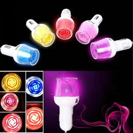 Wholesale Iphone 4s Charger Eu Color - 3.1 A Rose LED Car Charger Universal Dual USB Color Car Charger Power Adapter For iPhone 6G 6 Plus 5S 5C 4S Samsung S4 S5 Note3 Note4