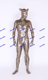 Wholesale Leopard Bodysuit Costume - New fabrics Metal leopard cat Lycra Body Suit Fancy Dress Super Hero Bodysuit