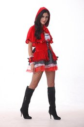 Wholesale Capes Costume Red Riding Hood - Women's Red Riding Hood Dress with Hooded Cape Halloween Costumes Party Stage Role Costume DS Clubwear.