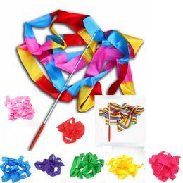 Nastri colorati fitness danza nastro ginnastica ritmica ginnastica artistica balletto streamer twirling rod 9 colori danza nastro in vendita da