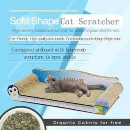 Wholesale Blue Couches - 605mm blue Penguin Free shipping Couch shape corrugated craft cardboad paper cat scratcher especial for fat cat wth free catnip