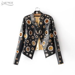Wholesale Ladies Hooded Leather Jacket - Wholesale- 2017 New Luxury Runway Jackets Women Coats Black Golden Silver Long Sleeve Hollow Out Celebrity Lady Faux Fur Leather basic Coat
