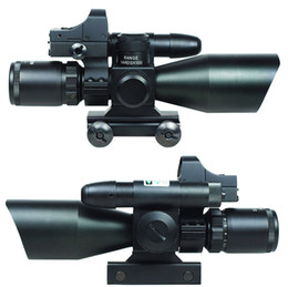 Wholesale Laser Light Rifle - 2.5-10X40 Tactical Rifle Scope w  Green Laser & Mini Reflex 3 MOA Red Dot Sight