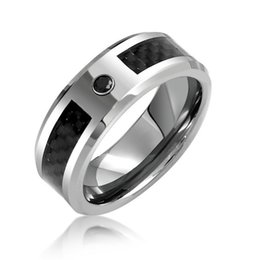 Wholesale Carbon Rings For Men - Best seller classic Mens Black CZ diamond Tungsten Wedding Band Ring Carbon Fiber Inlay anel anillos bague rings for men
