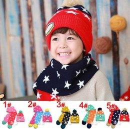 Wholesale Girl Spells - Wholesale-2015 new Pentagram spell color boys Knitted hats winter 2 pcs baby girl scarf hat set Age for 1-3 Years Old