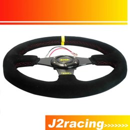 Wholesale Drifting Leather - J2 RACING STORE- NEW 14inch 350mm Suede Leather Flat Rack Corn Drifting Steering Wheel with black box PQY-SW71