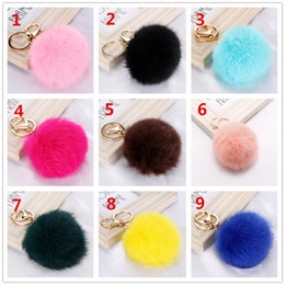 Wholesale Ball Chain Earrings - Rabbit Fur Ball Keychain Soft Fur Ball Lovely Gold Metal Key Chains Ball Pom Poms Plush Keychain Car Keyring Bag Earrings Accessories R070