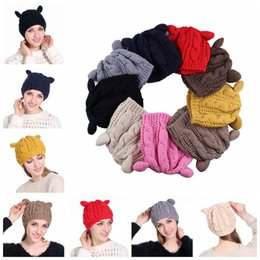 Wholesale Cat Beanie Crochet - Women Winter Beanie Devil Horns Cat Ear Crochet Braided Knit Ski Cap Hat 9 Colors LJJO3476