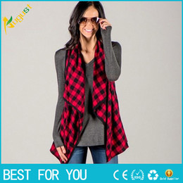 Wholesale Green Cardigan Women - Fashion Winter Women Sleeveless Waistcoat Plaid&Check Long Vest Jacket Cardigan Plus Size S-2XL