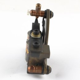 Wholesale Coil S Tattoo - Wholesale-2015 Hot Selling Brass Copper Tattoo Machine L&S Dual 10 Wrap Coils Tattoo Machine Supplies Yellow Free Shipping