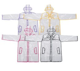 Wholesale Raincoats For Adults - EVA Transparent Raincoat With Belt Long Raincoat for Women Waterproof Jacket Windbreaker Rain Poncho Outdoors