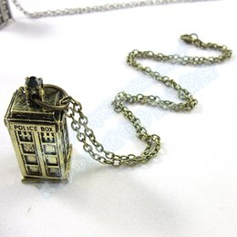 Wholesale Police Box Necklace - 2015 hot fashion movie Doctor Who necklace women Police box alloy necklace