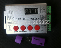 Wholesale Dmx Led Controller - Wholesale-wireless SD card pixel programable LED Full color digital controller 5-24V for WS2811 ws2801 LPD8806 WS2812 DMX led strip