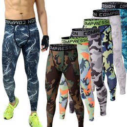 Wholesale Fitness Cream - new arrival Camo Base Layer Fitness Jogging cycling Compression Tights Long Pants for men free shipping