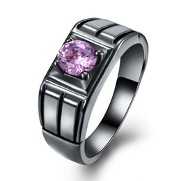 Wholesale Gold D Ring - Christmas Gift Ring Charming Purple Amethyst Black Gun Plated Silver Women Men Genuine Free Shipping Ring Size 6 7 8 9 LKN18KRGPR1087-D