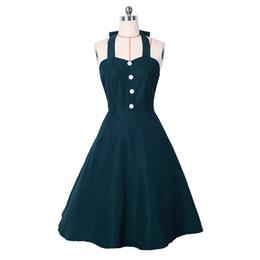 Wholesale Rockabilly Halter - New Fashion Womens 1950s Retro Rockabilly Vintage Casual Audrey Party Swing Dress Casual dress 17926 SMLXLXXL