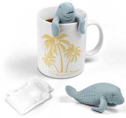Wholesale Mr Stockings - Mr Manatee Design Tea Strainers Silicone rubber Gray Color Tea Tools 2016 Hot Sale In Stock