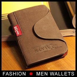 Wholesale Porte Carte - New Fashion High quality business porte carte credit card holder Genuine leather Buckle Cards Holders Organizer ger Wallet Men brand