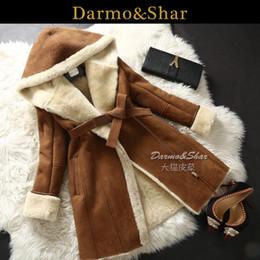 Wholesale Sheepskin Coats For Women - Wholesale-Sheepskin Coat Women Winter With Hood Long Section Overcoat New 2015 Fur Coat For Women