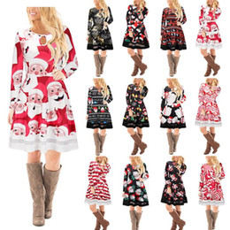 Wholesale Cartoon Print Bodycon - Christmas Party Dress Female 2017 Autumn Long Sleeve Casual Santa Print Short Dresses Xmas Cartoon New Year Clothing