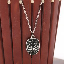 Wholesale Spider Mask - Spider-Man Mask Necklaces alloy gold silver spider man necklaces face mask charm statement jewelry for women men Movie jewelry gift 160459