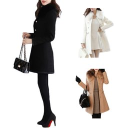 Wholesale White Wool Trench - S5Q Womens Wool Blends Fur collar Overcoat Coat Slim Fit Trench Double Breasted Winter Long Section Jacket Parka AAAECY