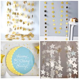Wholesale christmas decoration paper stars - New Fashion Star Paper String Chain 4m 3 colors For Wedding Birthday Party Decorations Kids Gifts Christmas Decorations