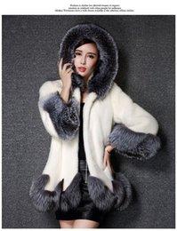Wholesale Mink Overcoat - High Imitation Women Silver Fox Fur Collar Hooded Mink Fur faux fur Coat fedorova Medium-long Overcoat