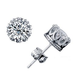 Wholesale Cz Wholesale Fashion Jewelry - 925 Sterling Silver CZ Diamond Crown stud earrings Fashion Jewelry beautiful wedding   engagement gift Gold Silver Crown Earrings