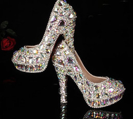 Wholesale Bridal Shoes Diamonds - Factory manufacture colorful crystal rhinestones with platform high heels bridal wedding shoes AB crystal Diamond Shoes for Wedding Ceremony