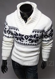Wholesale Christmas Pullover Sweaters - 2016 mens Lapel sweater V-neck pullover sweater wnter or spring sweater knit sweater for Christmas snow