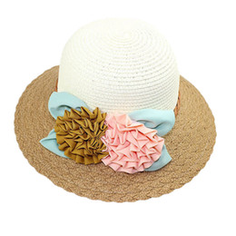 Wholesale Womens Wholesale Large Brim Hats - Wholesale-2015 Summer New Style Womens Ladies Flowers Cap Wide Large Brim Summer Beach Straw Sun Hat