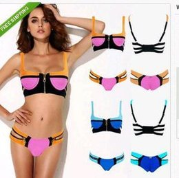 Wholesale Unique Push Up Bikinis - New Arrived Unique Sexy Zipper Push Up Pad Bandage Bikini Set, Sexy Women Neon Swimwear Beachwear, Vintage Swimsuit Bathing Suit