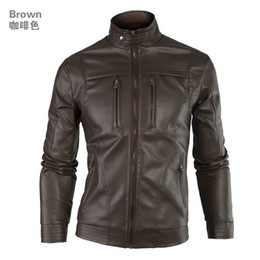 Мужские классические кожаные куртки онлайн-Wholesale-New Fashion  Classic Mens Punk PU Leather Coat Men Casual Locomotive Slim Clothing Motorcycle Jacket Clothing Jackets