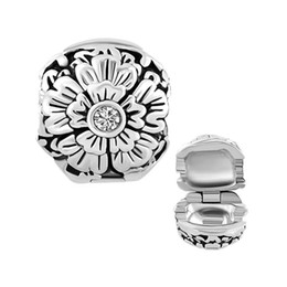 Wholesale Silver Plated Stoppers - Plating Clear Crystal Daisy Flower lucky clip lock bead Copper Material Bracelet Stopper Charm European Fit Pandora Bracelet