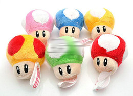 Wholesale mario key - 2 inch 10 Color Super Mario Bros Mushroom With Key Chain Plush Doll 2015 new children Cartoon Super Mario Plush toys B