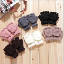 Wholesale Boys Fleece Mittens - Wholesale-Winter Coral Fleece Warm Gloves Mittens Fingerless Mitten Glove Kit for Women Men Girl Boy White Pink Brown Grey Brown Black