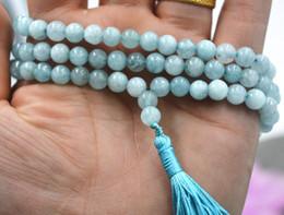 Wholesale Necklace Aquamarine - 6mm stone Buddhist Natural Aquamarine 108 Prayer Beads Mala Necklace