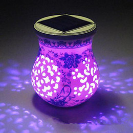 Wholesale Table Lamp Power - Ceramic LED Solar Powered Garden Light Lamp Solar Table Light Solar Small Night Light