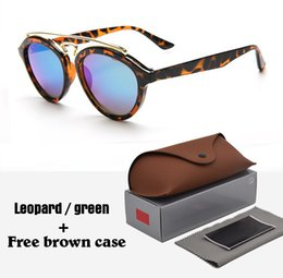 Wholesale Glasses Case Vintage - 2018 Fashion Brand Sunglasses Men Women gatsby Retro Vintage eyewear shades round frame Designer 4257 Sun glasses with brown cases and box