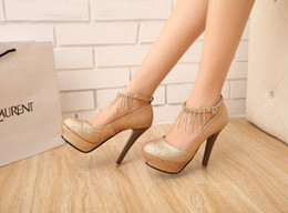 Wholesale Diamond Gold Heels - In Stock Gold Silver Bridal shoes Blink Crystals diamond wedding high-heeled shoes bridesmaid shoes